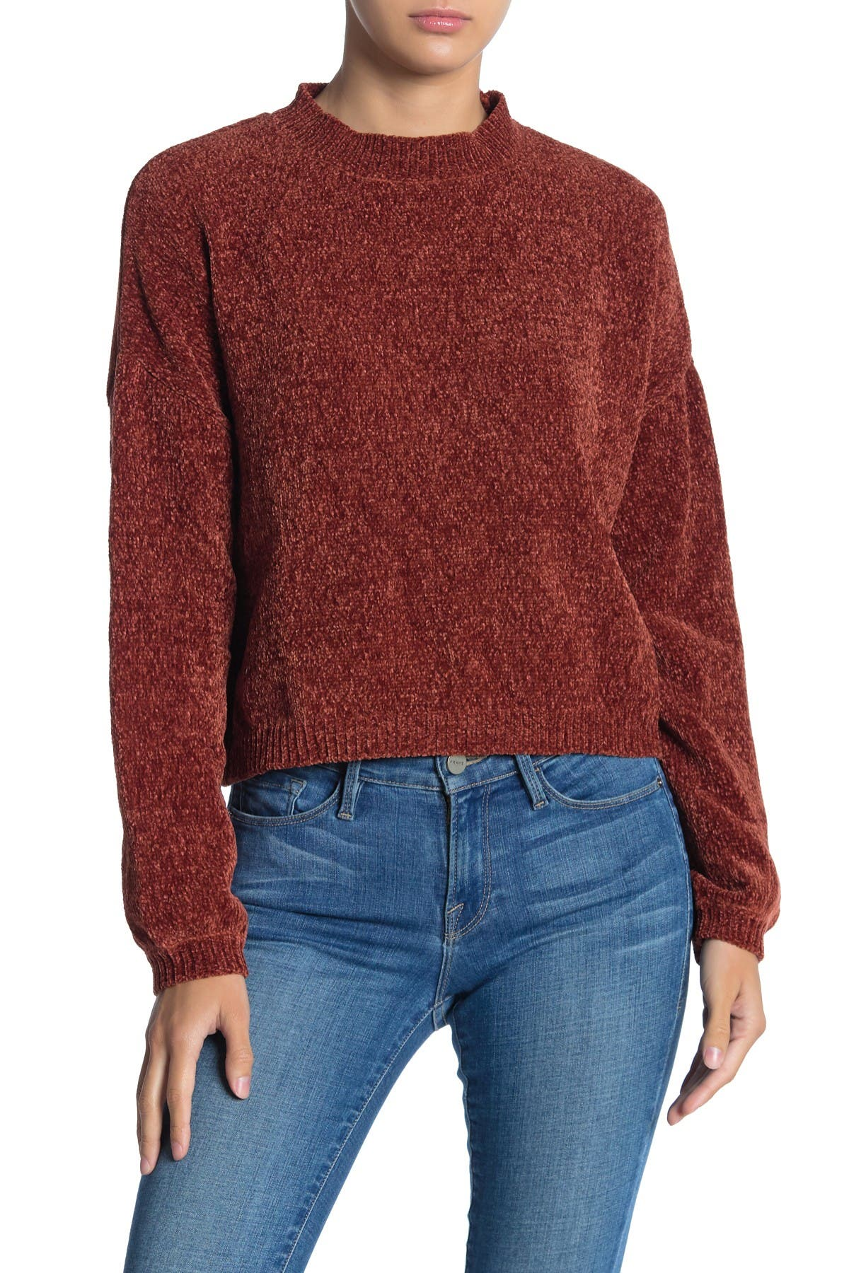 Image of Cotton Emporium Chenille Knit Cropped Sweater