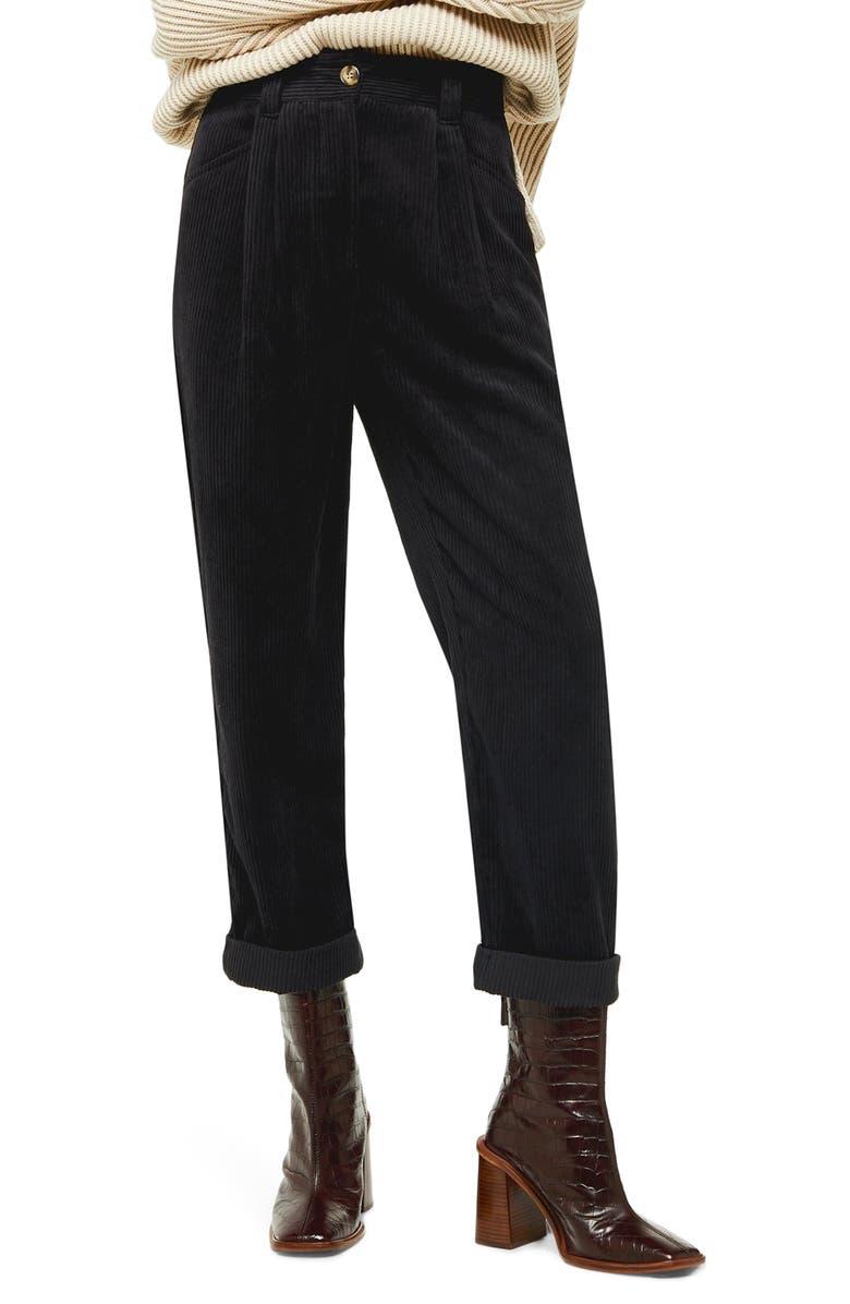 TOPSHOP Elijah Corduroy Trousers, Main, color, BLACK