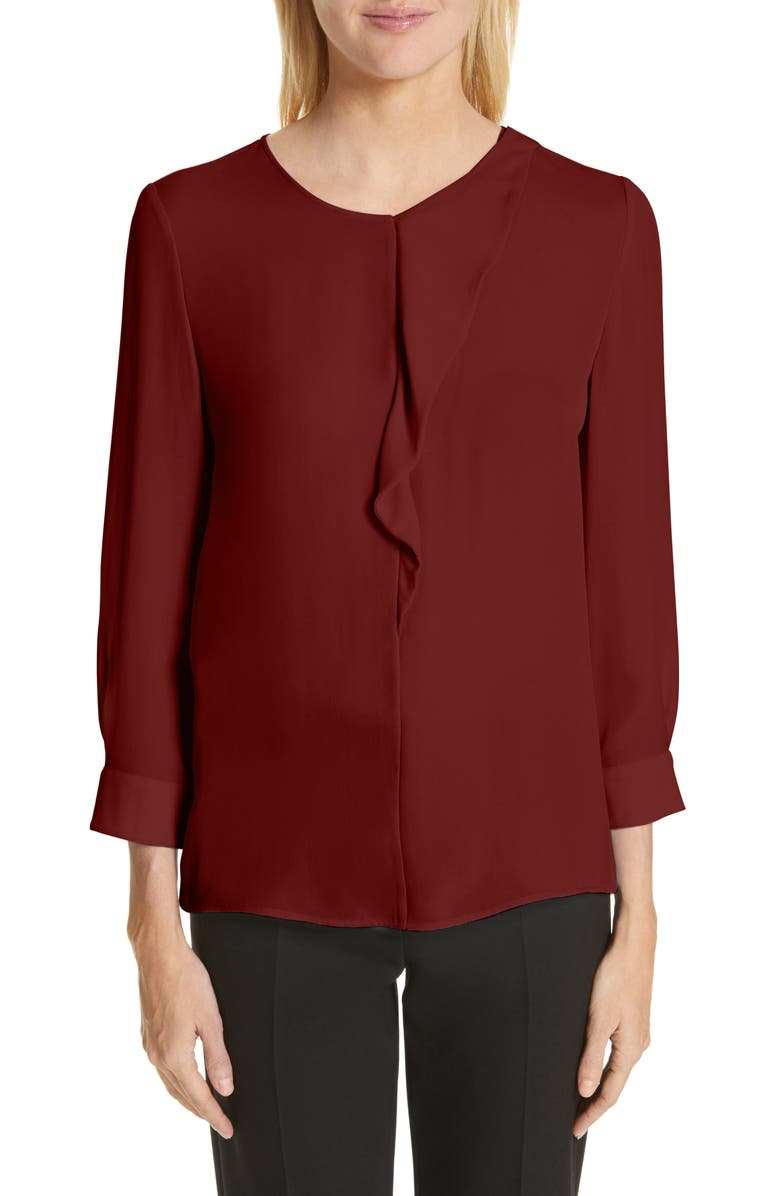 EMPORIO ARMANI Double Silk Georgette Blouse, Main, color, PICANTE RED