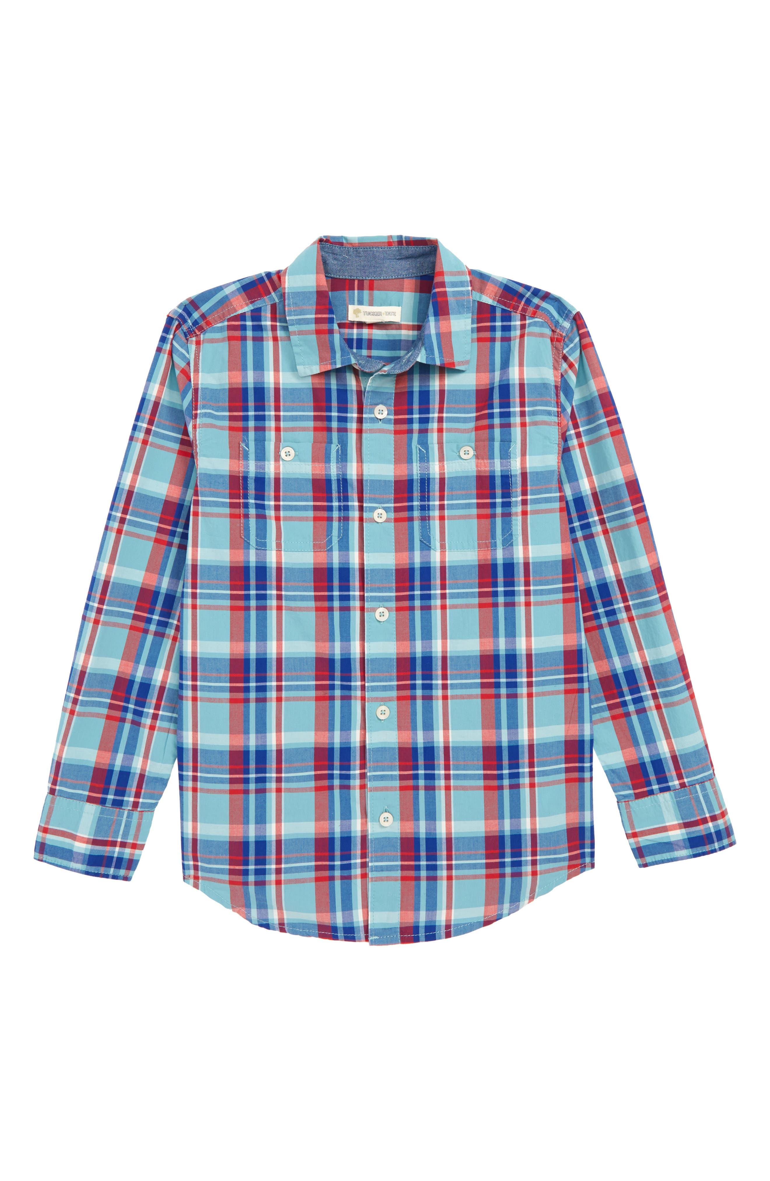 ,                             'Photo' Buffalo Plaid Woven Shirt,                             Main thumbnail 3, color,                             440