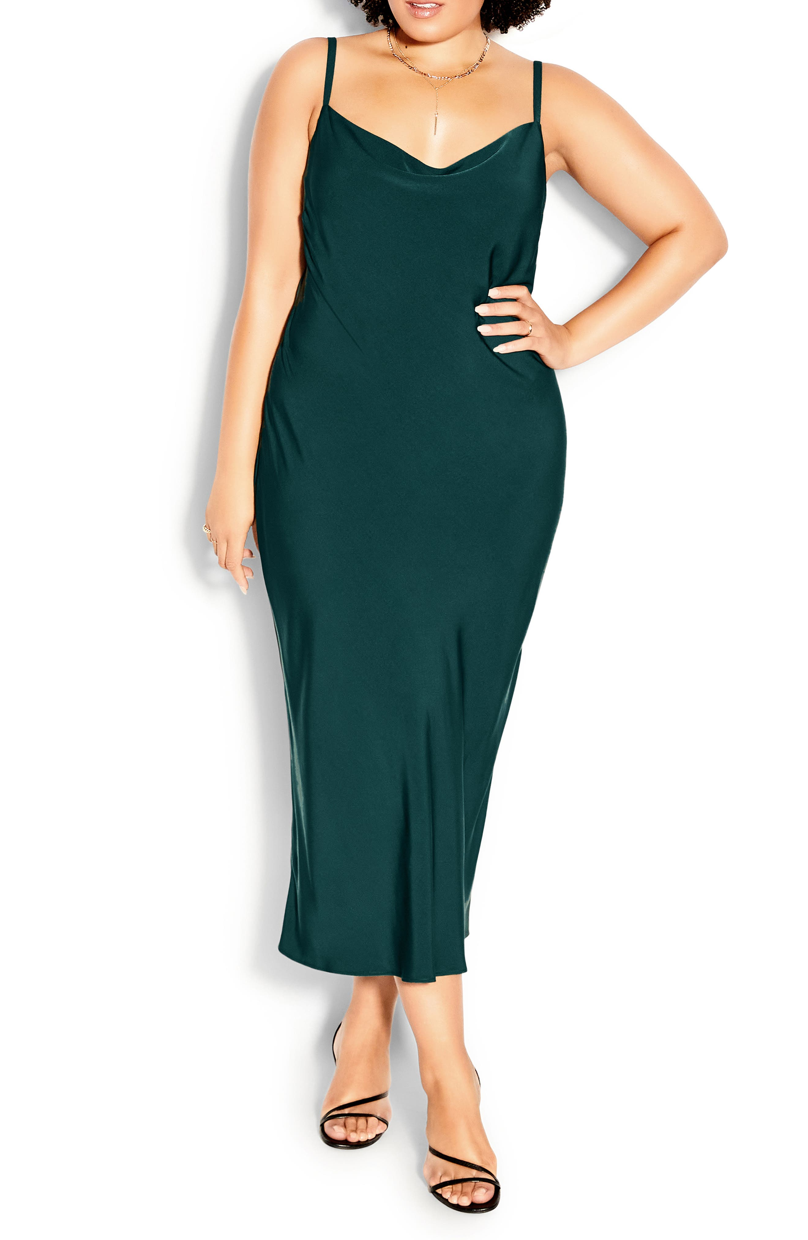 Plus Size Women's Chic City Shimmer Cowl Neck Slipdress
