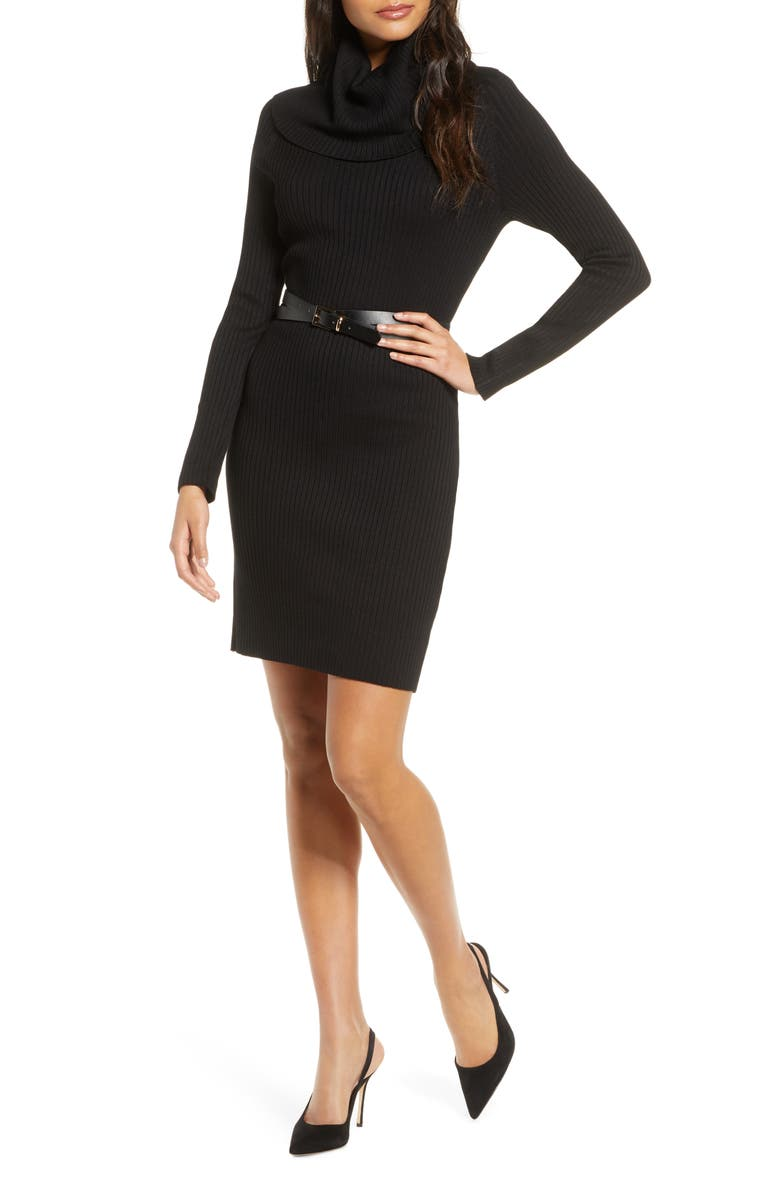 DONNA RICCO Cowl Neck Belted Long Sleeve Sweater Dress, Main, color, BLACK