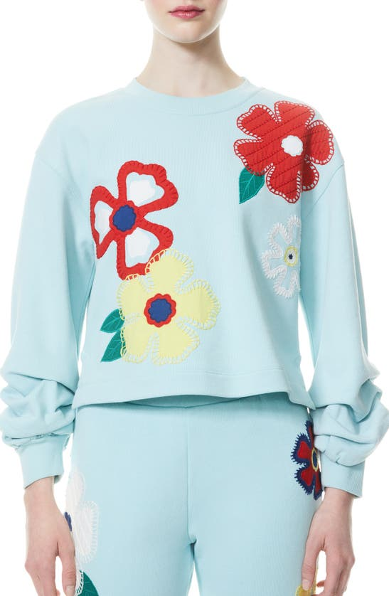 Alice And Olivia Cottons GAIA EMBROIDERED BLOUSON SLEEVE SWEATSHIRT