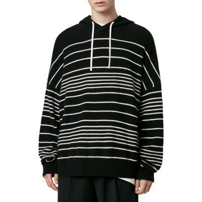 Allsaints Reverb Stripe Hooded Wool Blend Sweater, Black