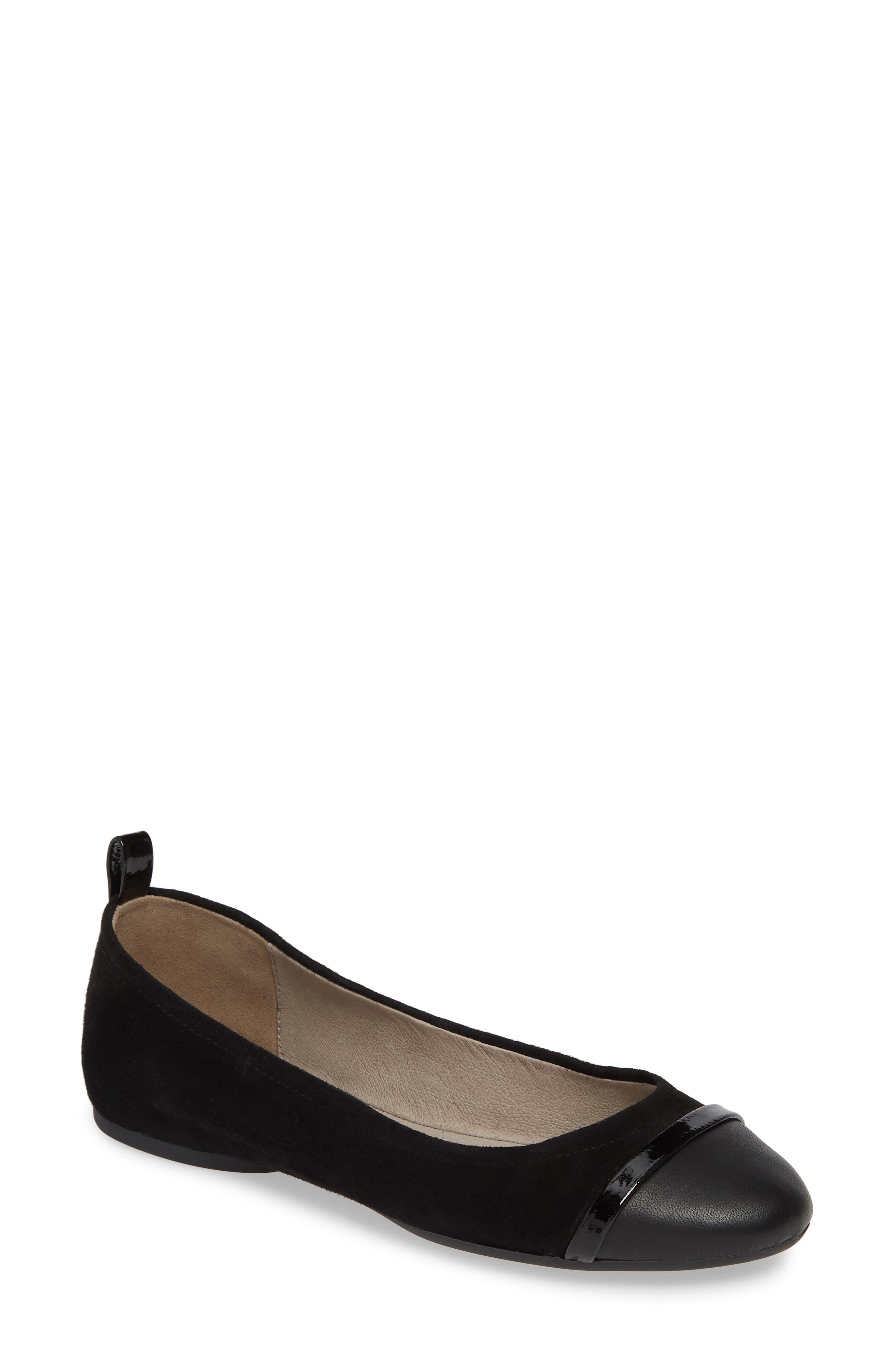 Pelle Moda Willis Cap Toe Flat- Black