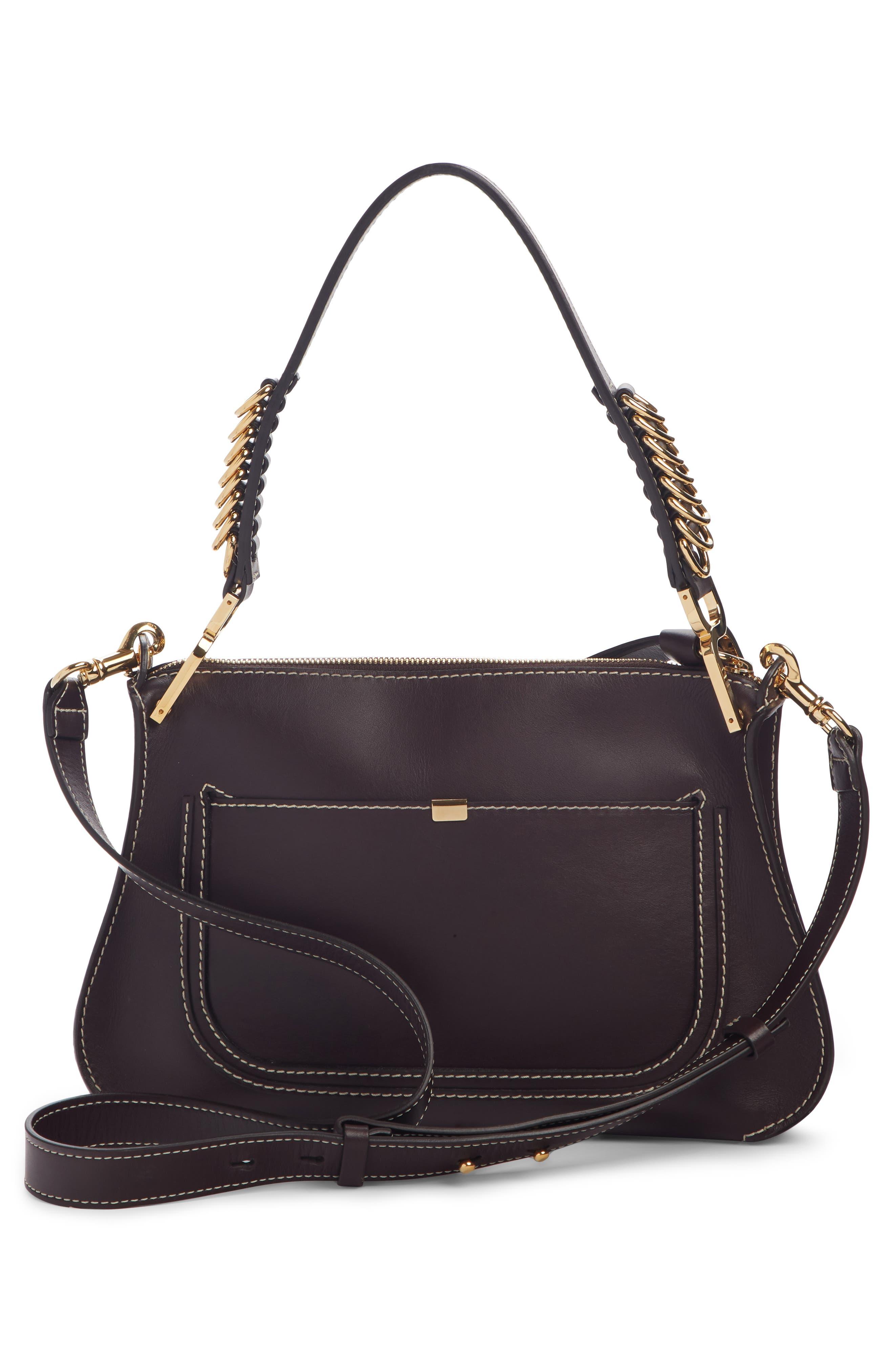 ,                             Marcie Leather Top Handle Bag,                             Alternate thumbnail 3, color,                             BLACK RAISIN