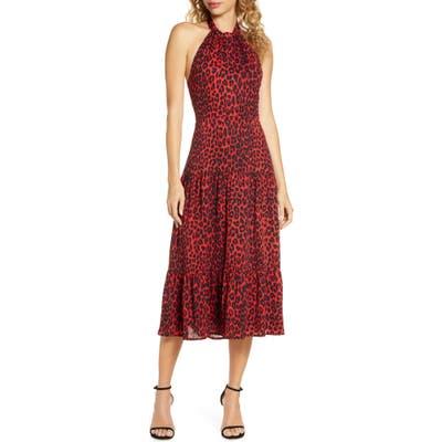 Sam Edelman Red Leopard Halter Midi Dress, Red
