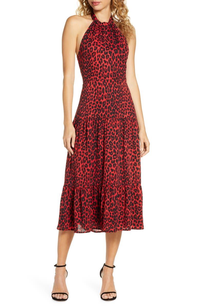 SAM EDELMAN Red Leopard Halter Midi Dress, Main, color, RED LEOPARD