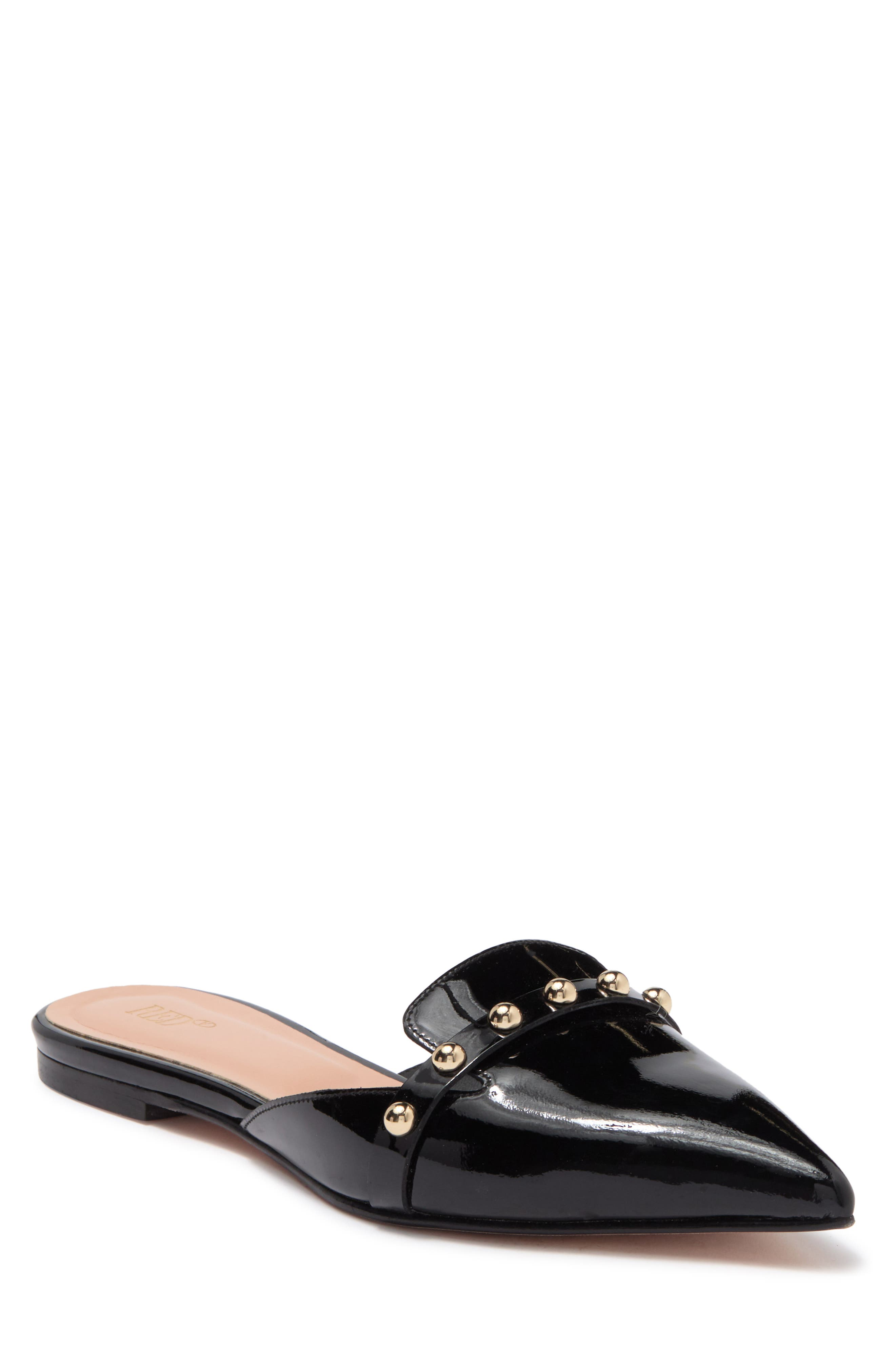 Red Valentino Pointed Toe Leather Studded Slipper In Nero