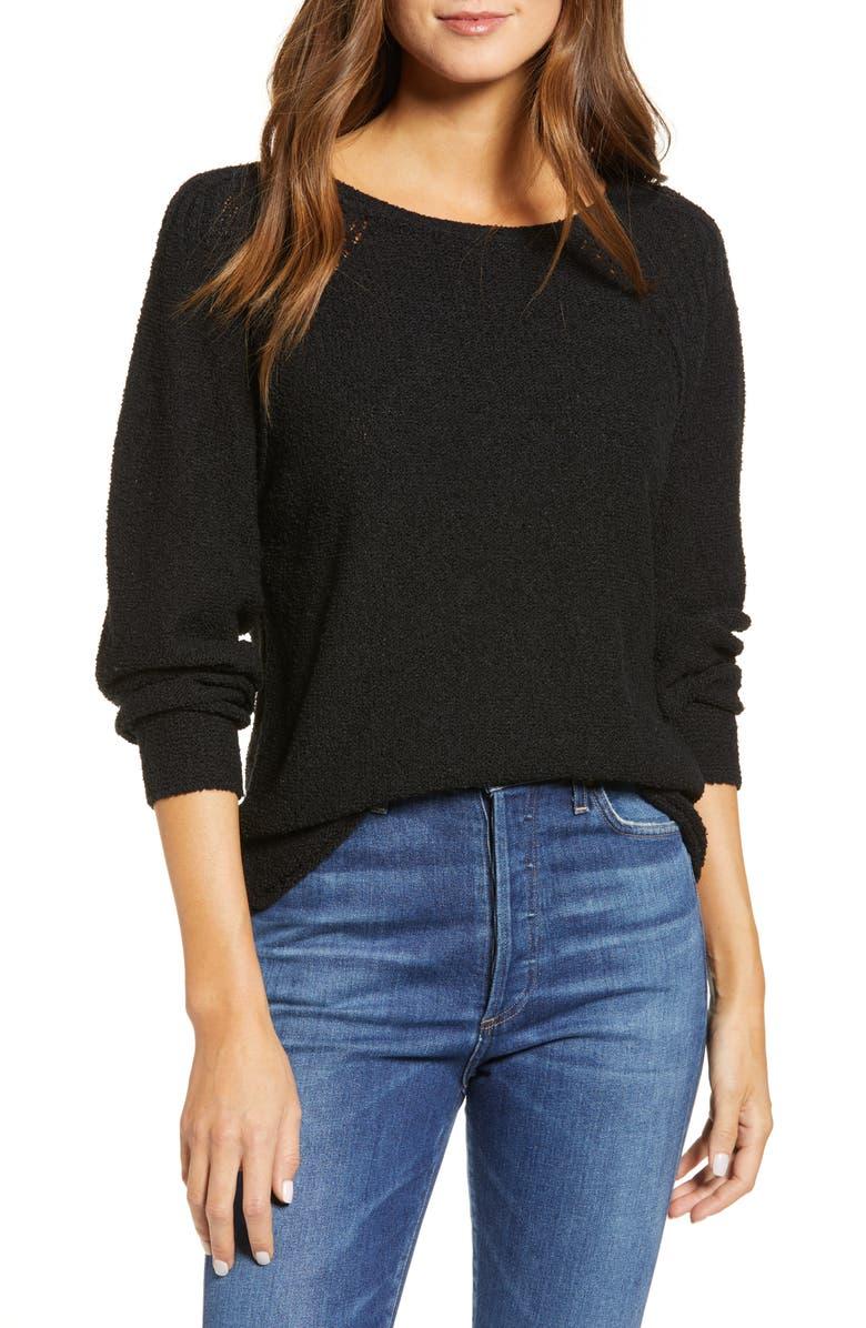 CASLON<SUP>®</SUP> Boat Neck Bouclé Sweater, Main, color, BLACK