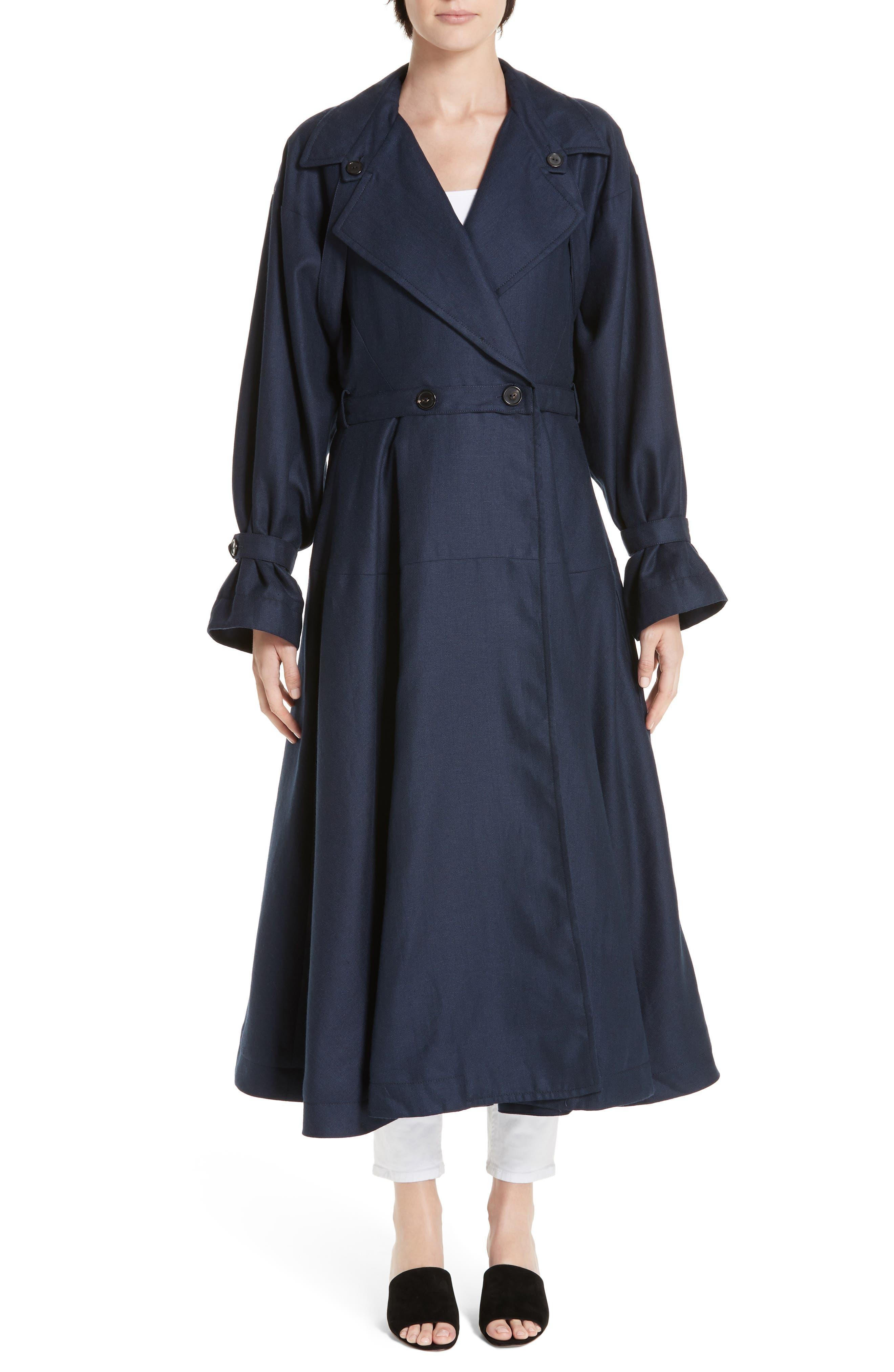 Carved Wool & Linen Coat, Main, color, NAVY HERRINGBONE LINEN