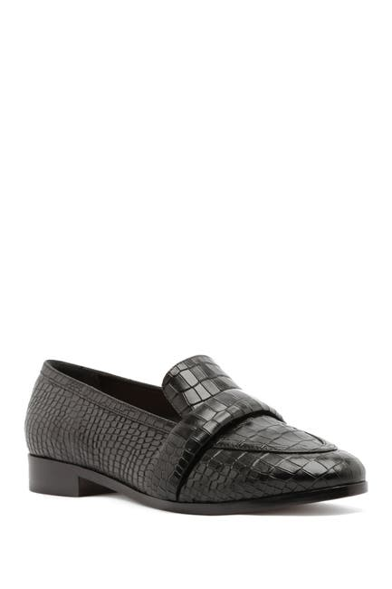 Image of Schutz Romina Croc Embossed Leather Loafer