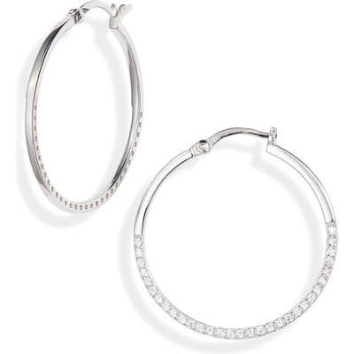 Argento Vivo Half Pave Hoop Earrings
