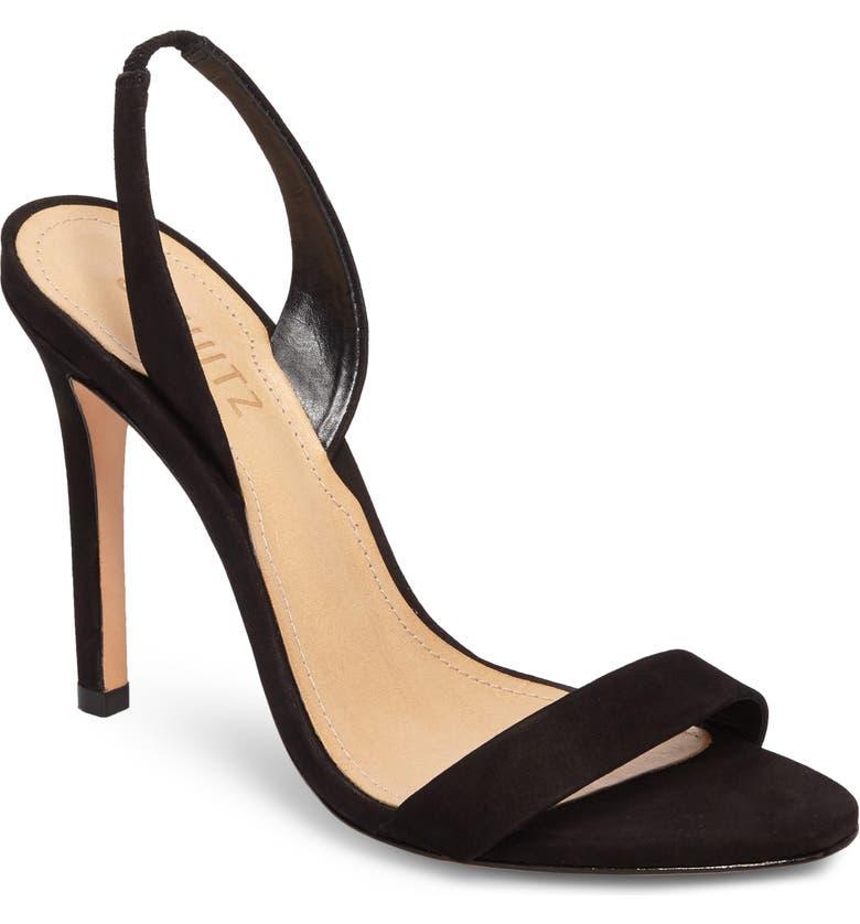 SCHUTZ Luriane Sandal, Main, color, BLACK NUBUCK LEATHER