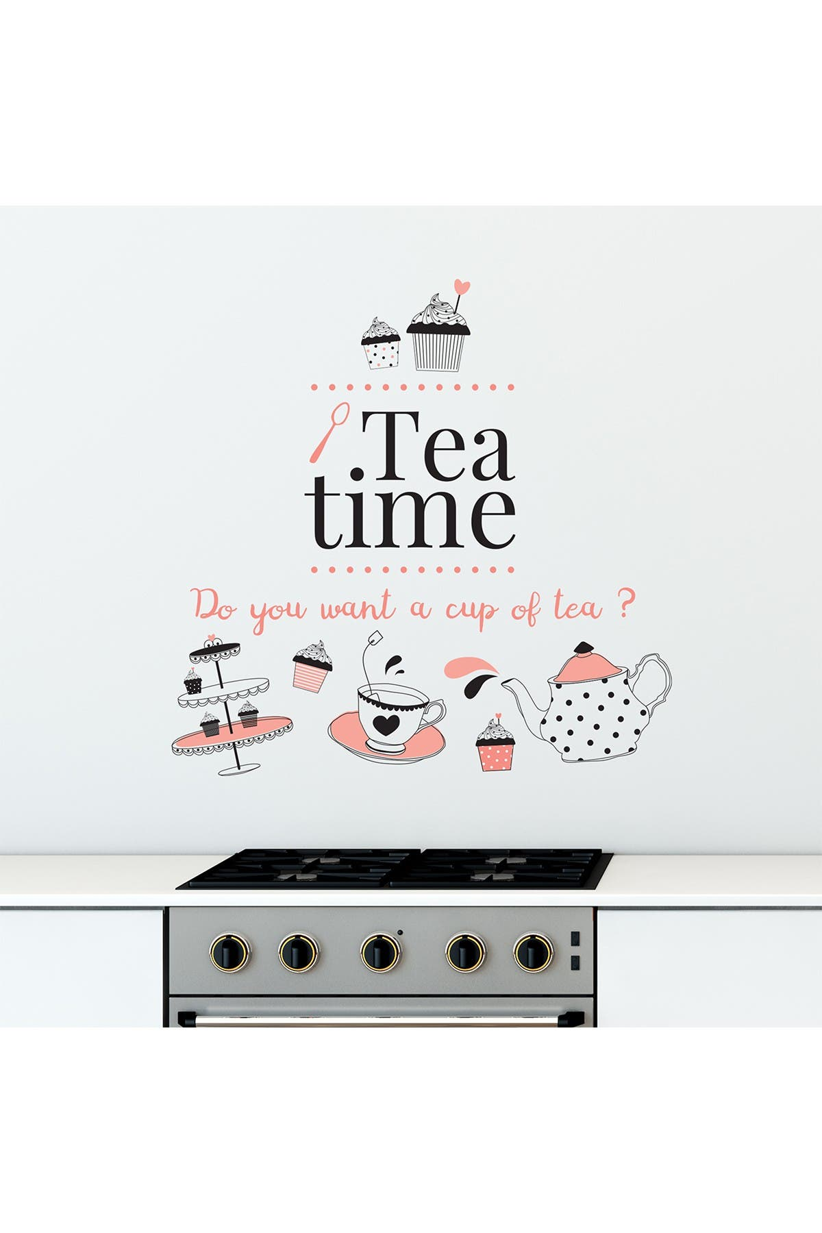 Image of WalPlus Tea Time English Quote Wall Decal
