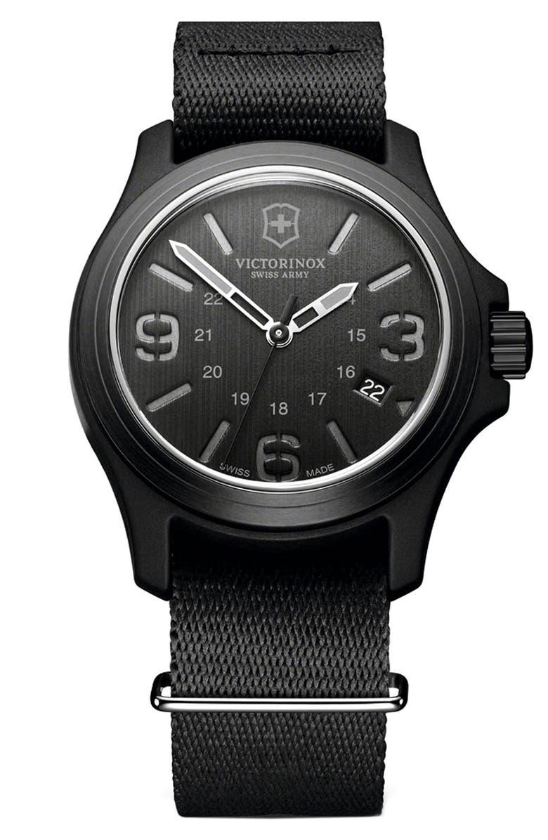VICTORINOX SWISS ARMY<SUP>®</SUP> 'Original' Nylon Strap Watch, 40mm, Main, color, 001