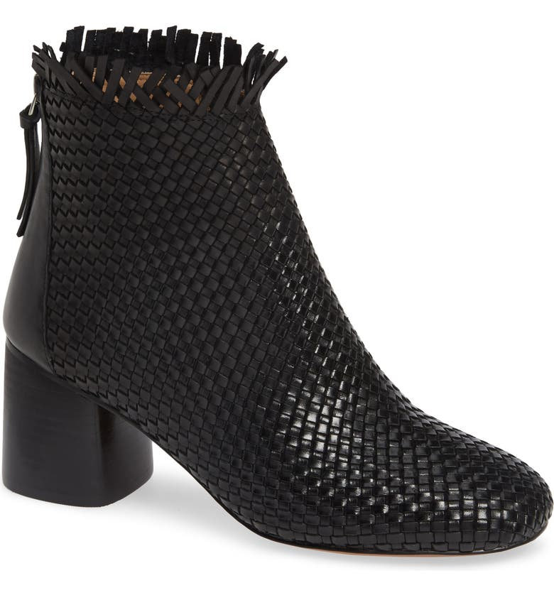 LINEA PAOLO Sabina Woven Bootie, Main, color, BLACK LEATHER