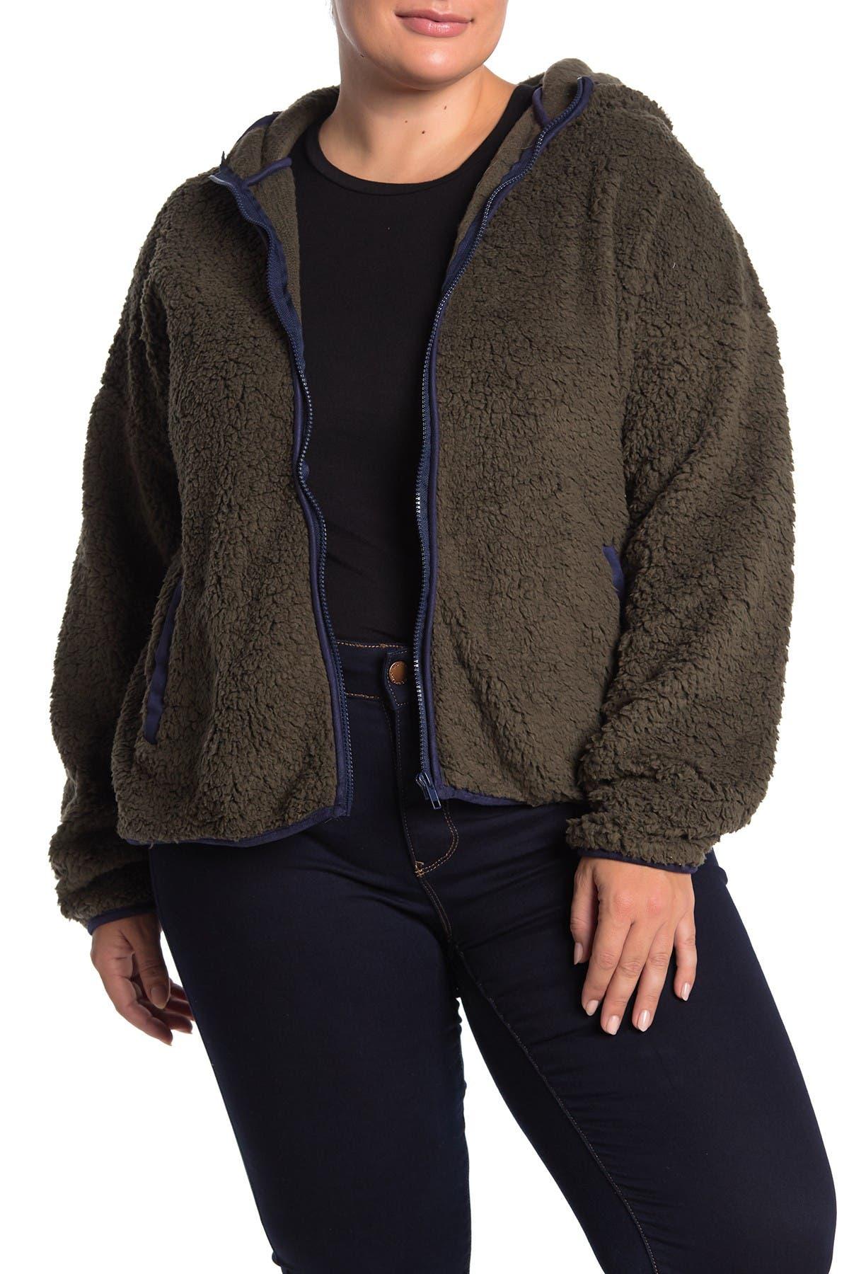 Blu Pepper Fleece Contrast Trim Teddy Jacket