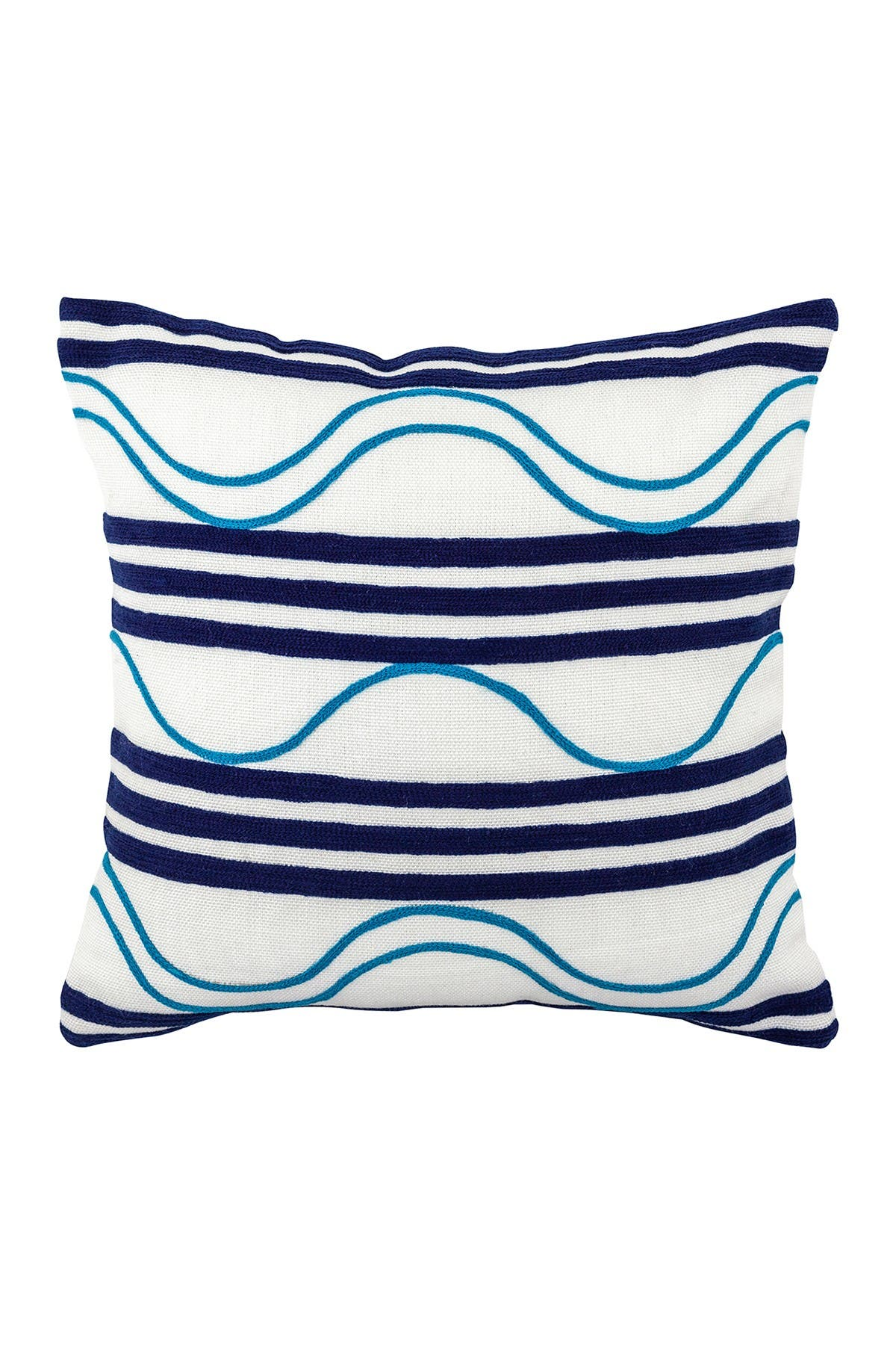 "Image of DIVINE HOME Embroidered Waves Outdoor Pillow - 17"" x 17"" - Navy/Aqua"