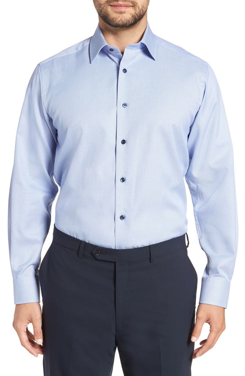 DAVID DONAHUE Regular Fit Solid Dress Shirt, Main, color, BLUE