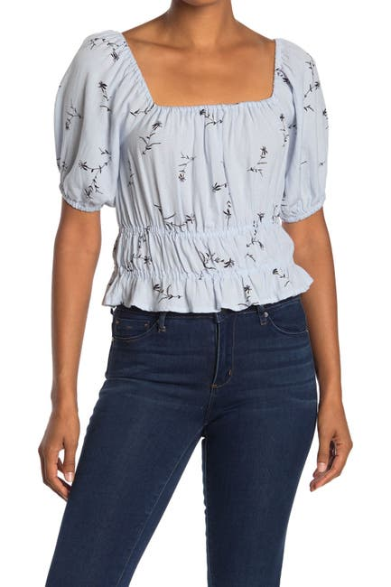 Image of Abound Puff Sleeve Floral Print Textured Top