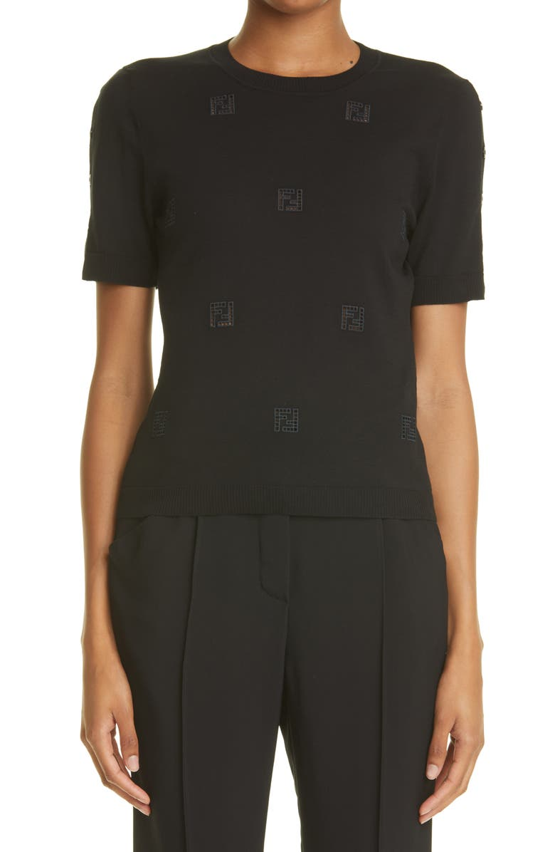 FENDI FF Ladder Stitch Cotton Sweater, Main, color, BLACK