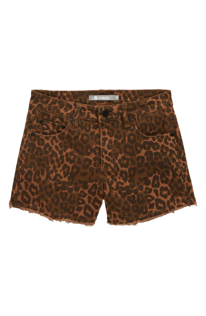 TRACTR Leopard Print Shorts, Main, color, TAN LEOPARD