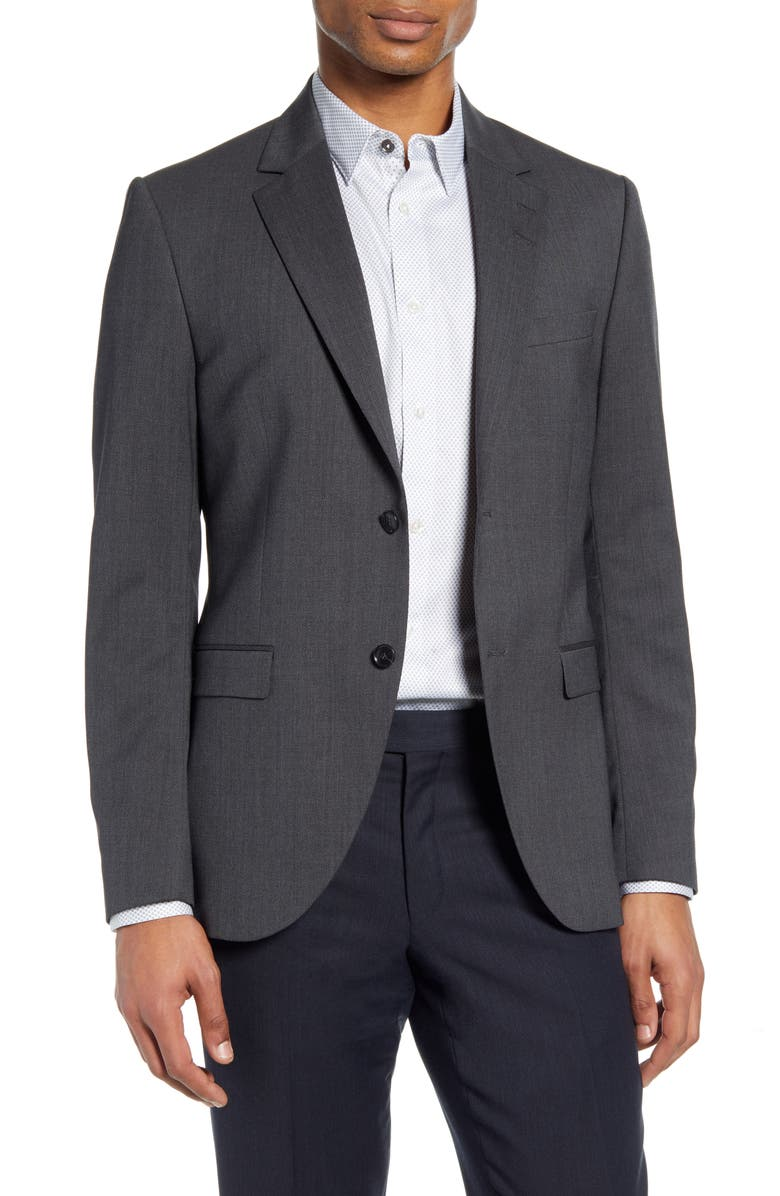 TIGER OF SWEDEN Jamonte Slim Fit Solid Stretch Wool Blazer, Main, color, DARK GREY