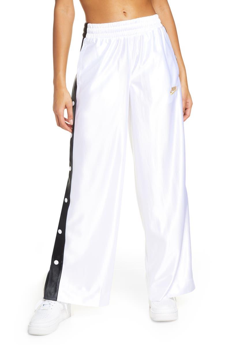NIKE Sportswear Glam Dunk Snap Wide Leg Track Pants, Main, color, WHITE/ BLACK/ BLACK
