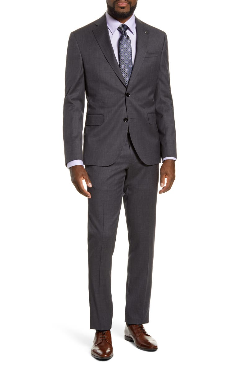 TED BAKER LONDON Roger Slim Fit Solid Wool Suit, Main, color, GREY
