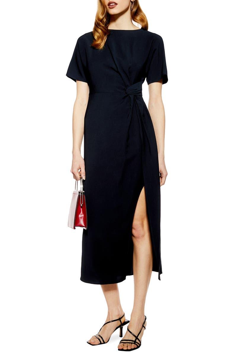 TOPSHOP Side Slit Midi Dress, Main, color, 411