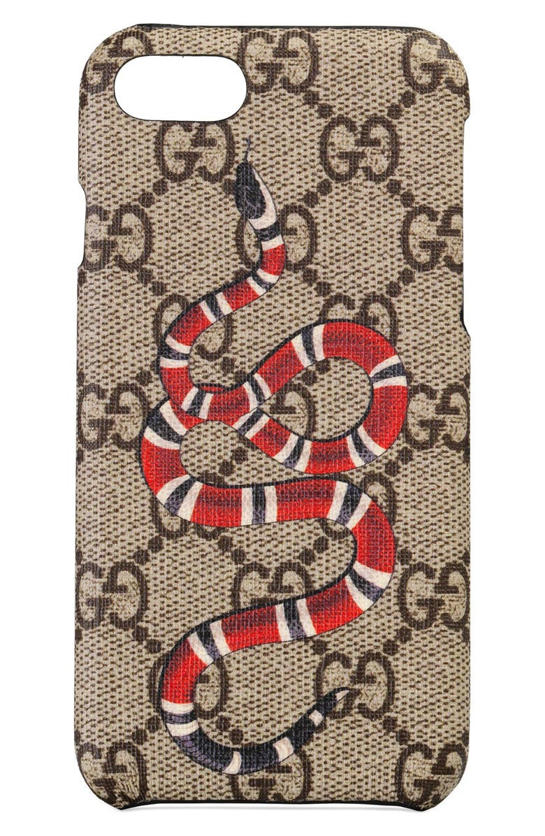 GUCCI GG Supreme Snake iPhone 8 Case, Main, color, 250