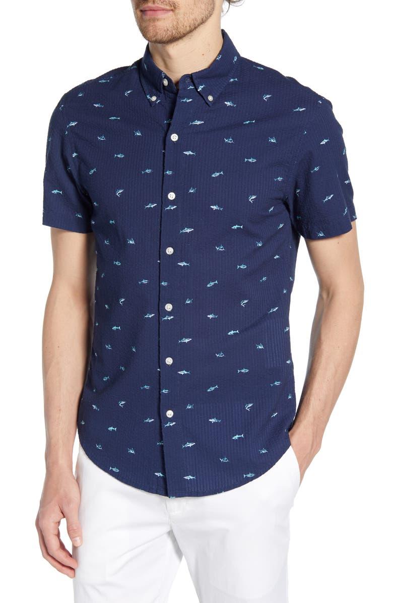 BONOBOS Riviera Slim Fit Print Shirt, Main, color, SHARKING