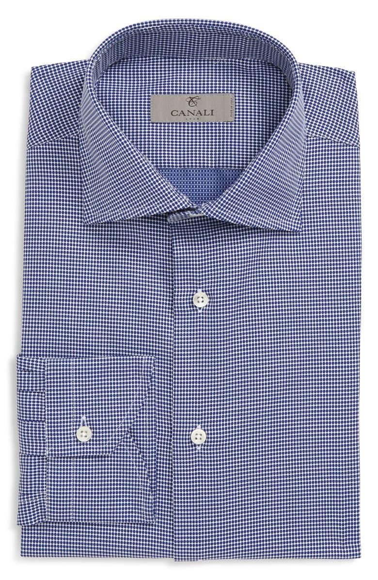 CANALI Slim Fit Dot Dress Shirt, Main, color, NAVY