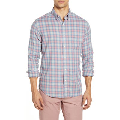 Faherty Everyday Check Print Button-Up Shirt, Red