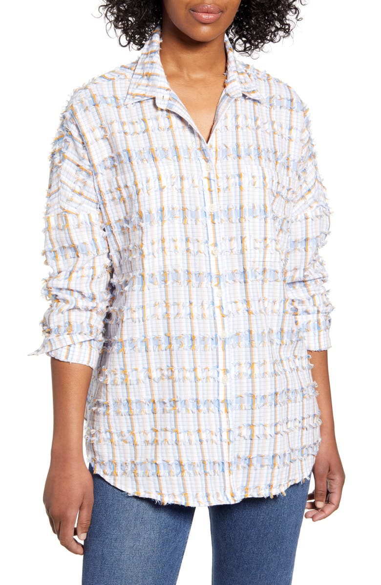 LOU & GREY Lola Clip Jacquard Shirt, Main, color, 425