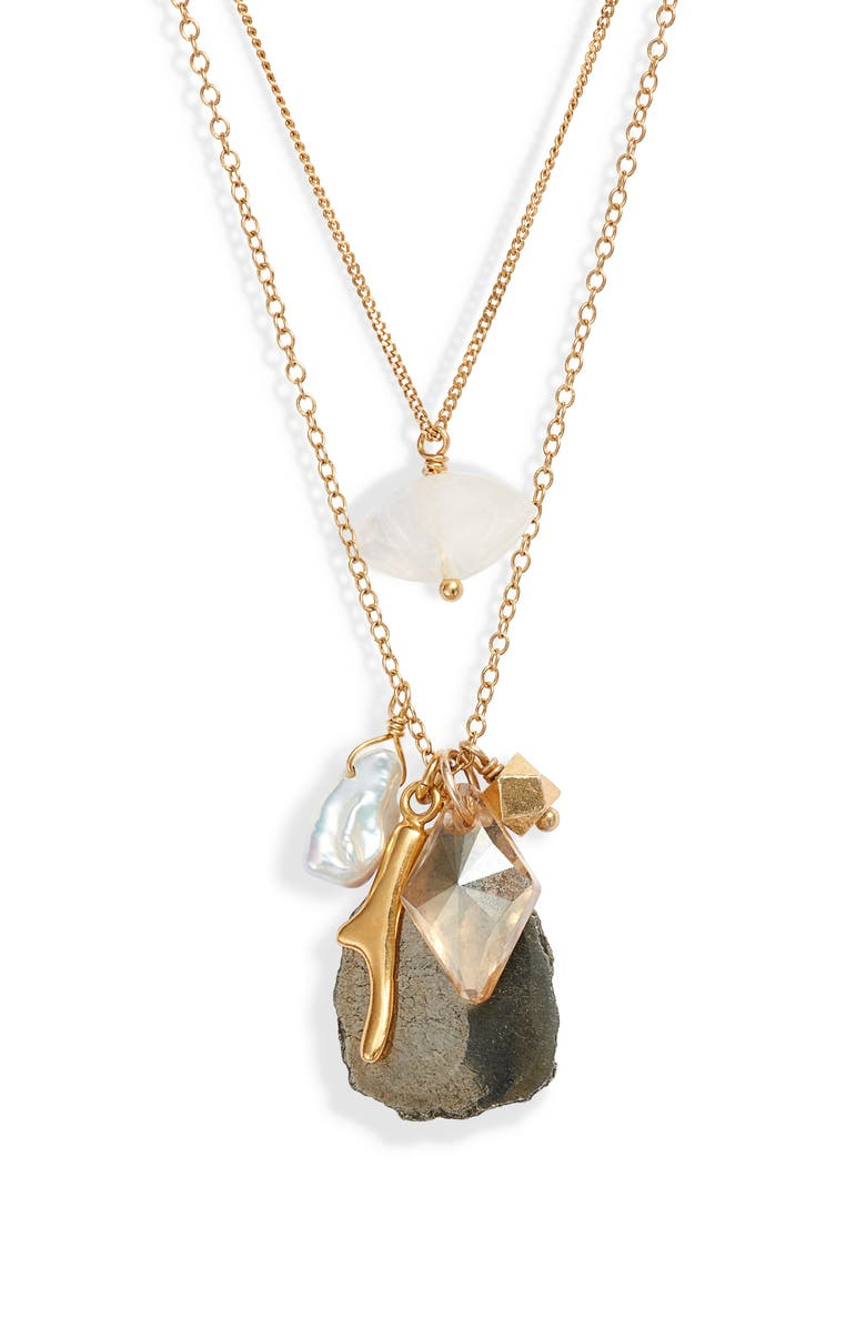 CHAN LUU Double Layer Pyrite & Cultured Pearl Pendant Necklace, Main, color, PYRITE