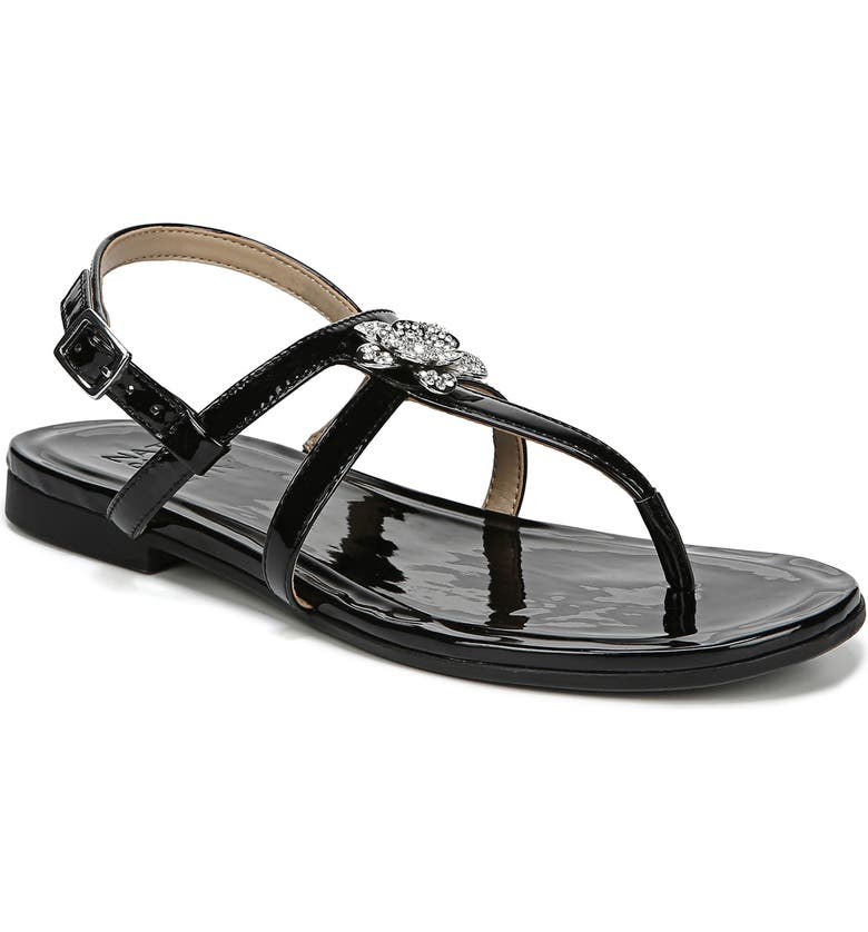 NATURALIZER Tilly Embellished Sandal, Main, color, BLACK PATENT FAUX LEATHER