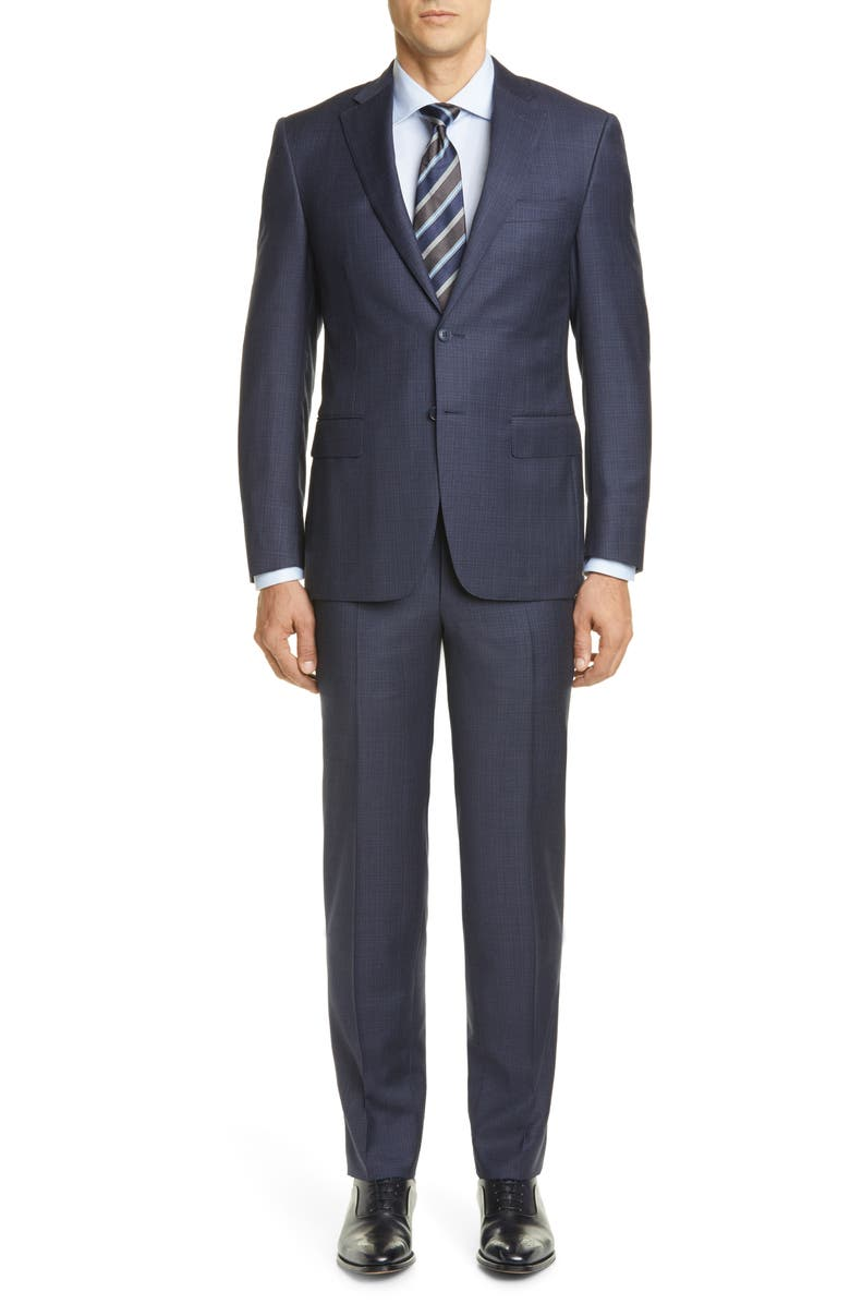CANALI Sienna Soft Plaid Wool Suit, Main, color, BLUE