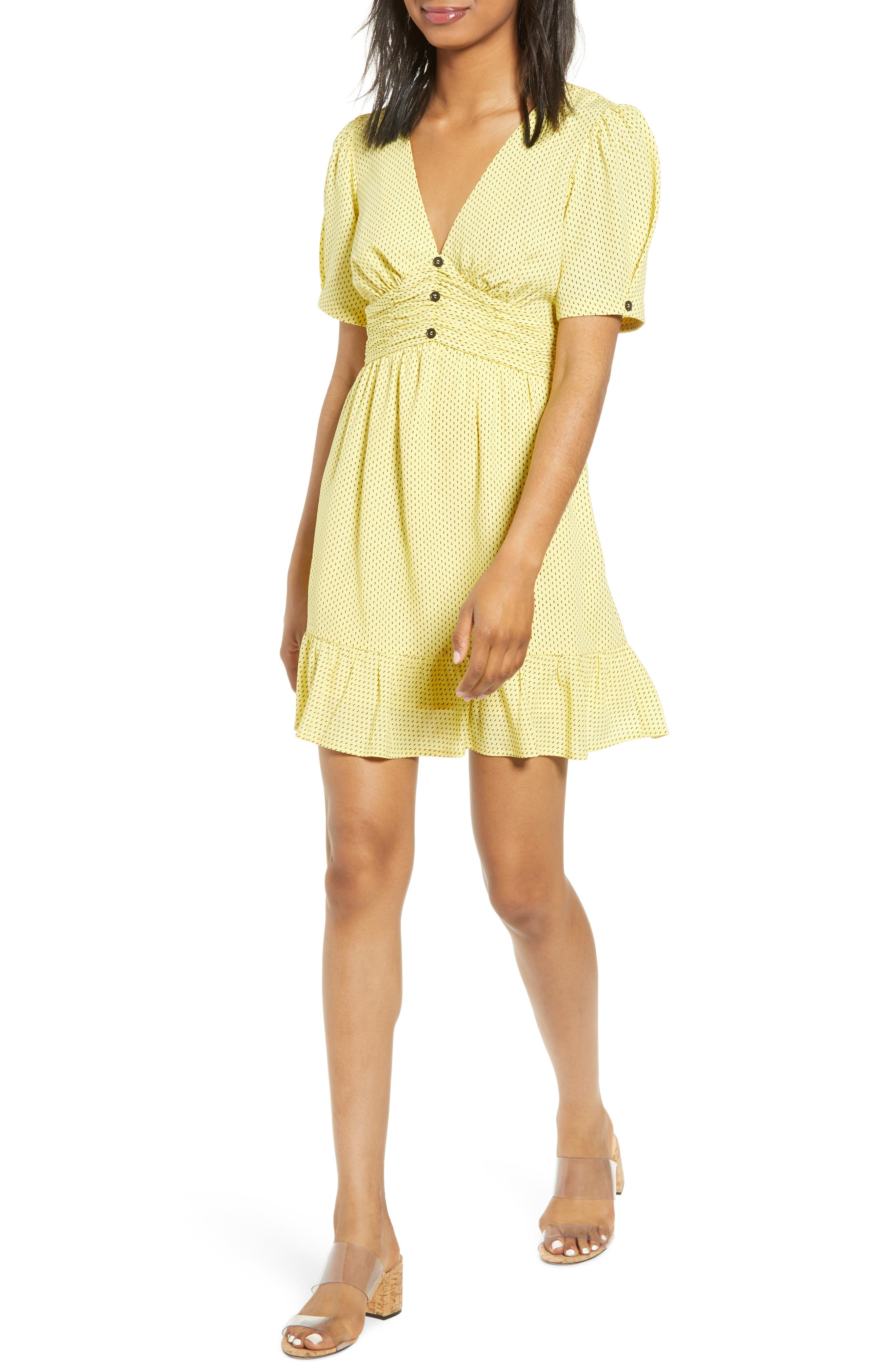 Moon River Twist Sleeve Minidress, Yellow