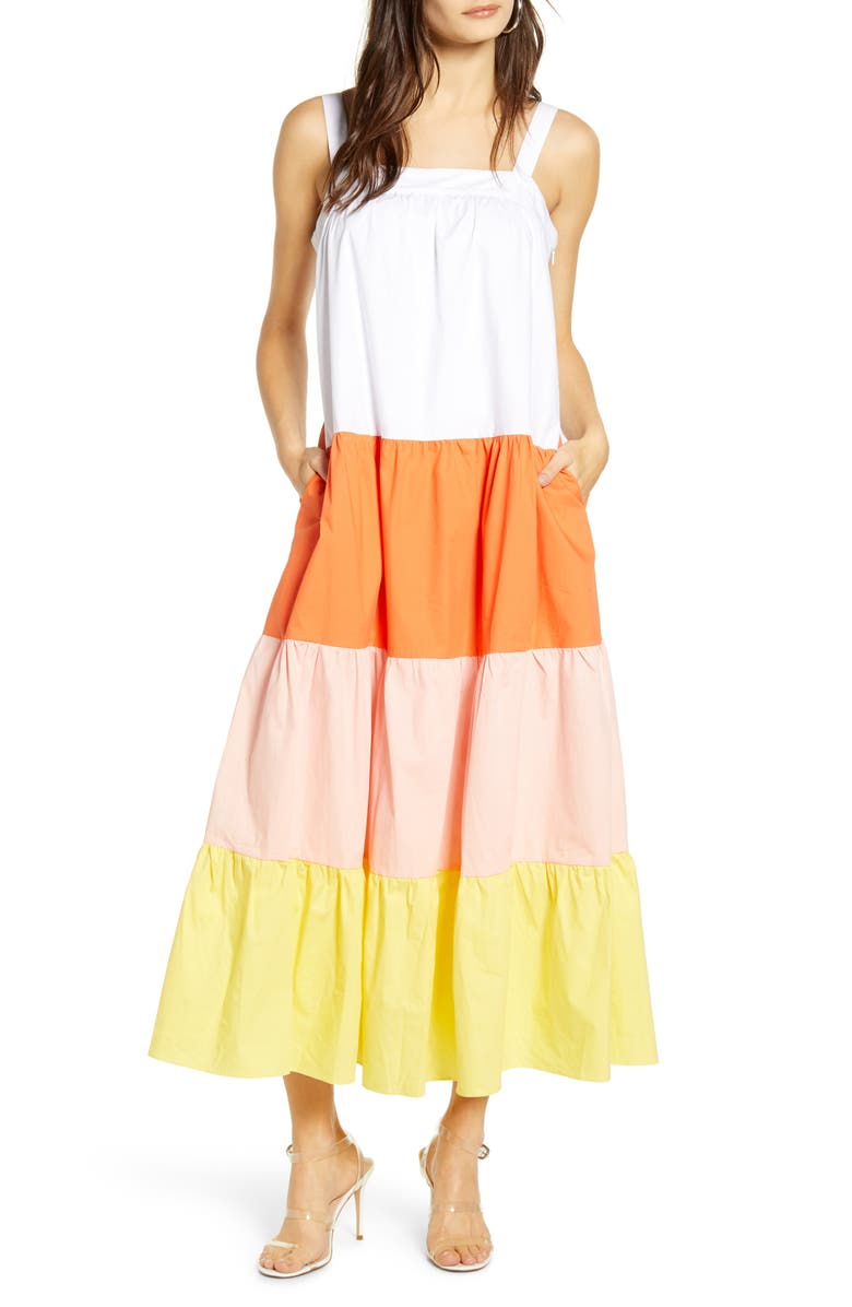 ENGLISH FACTORY Colorblock Maxi Dress, Main, color, 300