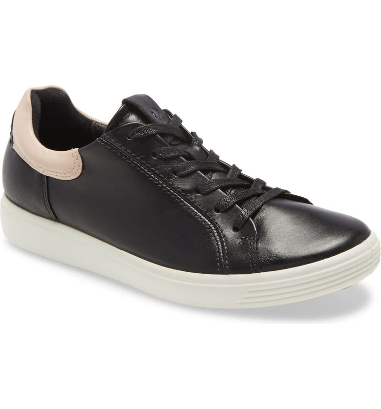 ECCO Soft 7 Street Sneaker, Main, color, BLACK/ ROSE DUST LEATHER