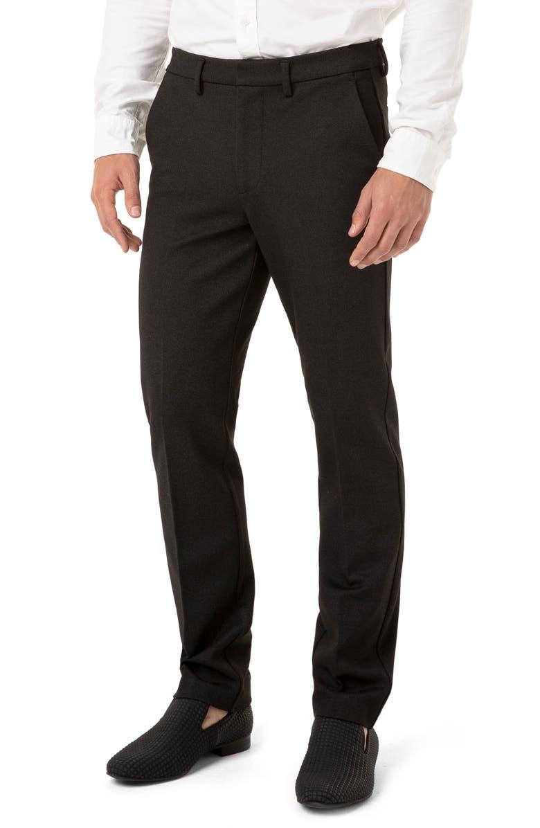 LIVERPOOL Saville Slim Fit Knit Pants, Main, color, GREY/ BLACK