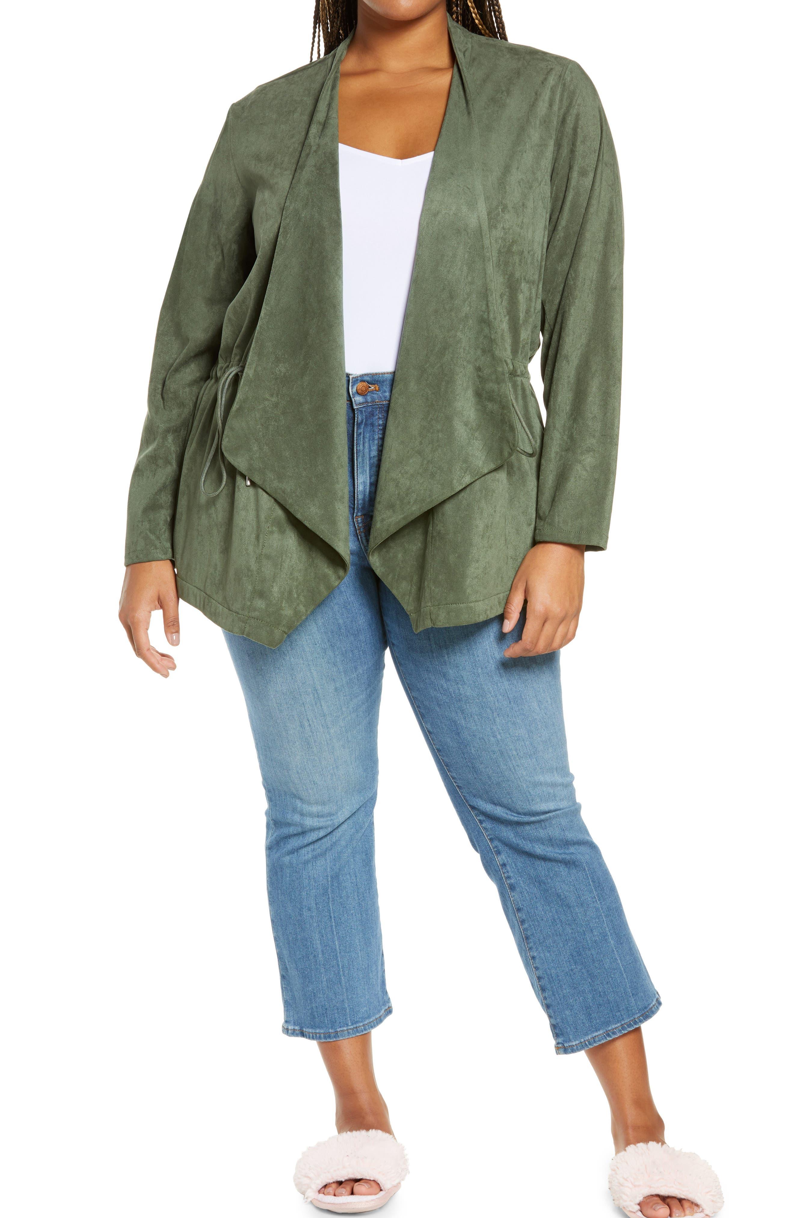 Plus Size Women's Blanknyc Faux Suede Drapey Jacket, Size 1X - Green