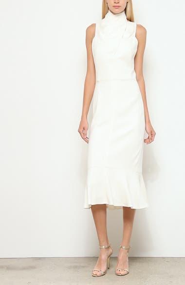 Draped Halter Midi Dress, video thumbnail