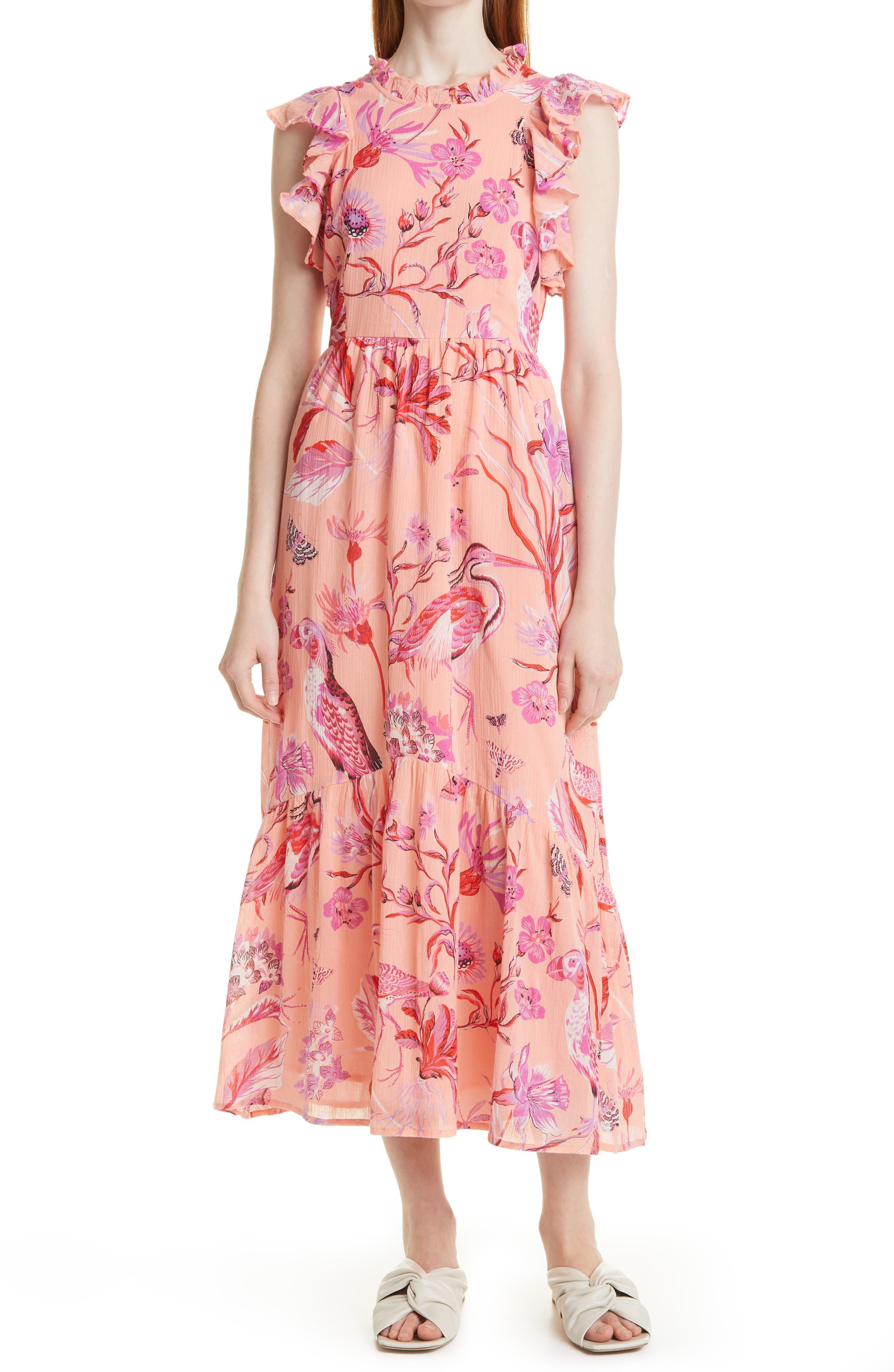 Hanna Floral Ruffle Midi Dress