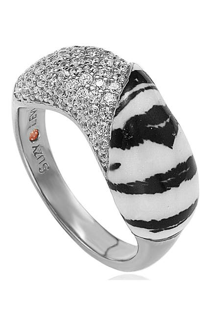 Image of Suzy Levian Sterling Silver Zebra & CZ Ring