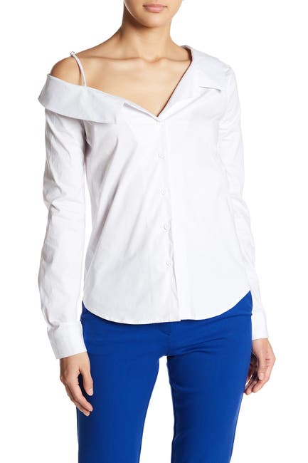 Image of Socialite Long Sleeve Cold Shoulder Button Up Blouse