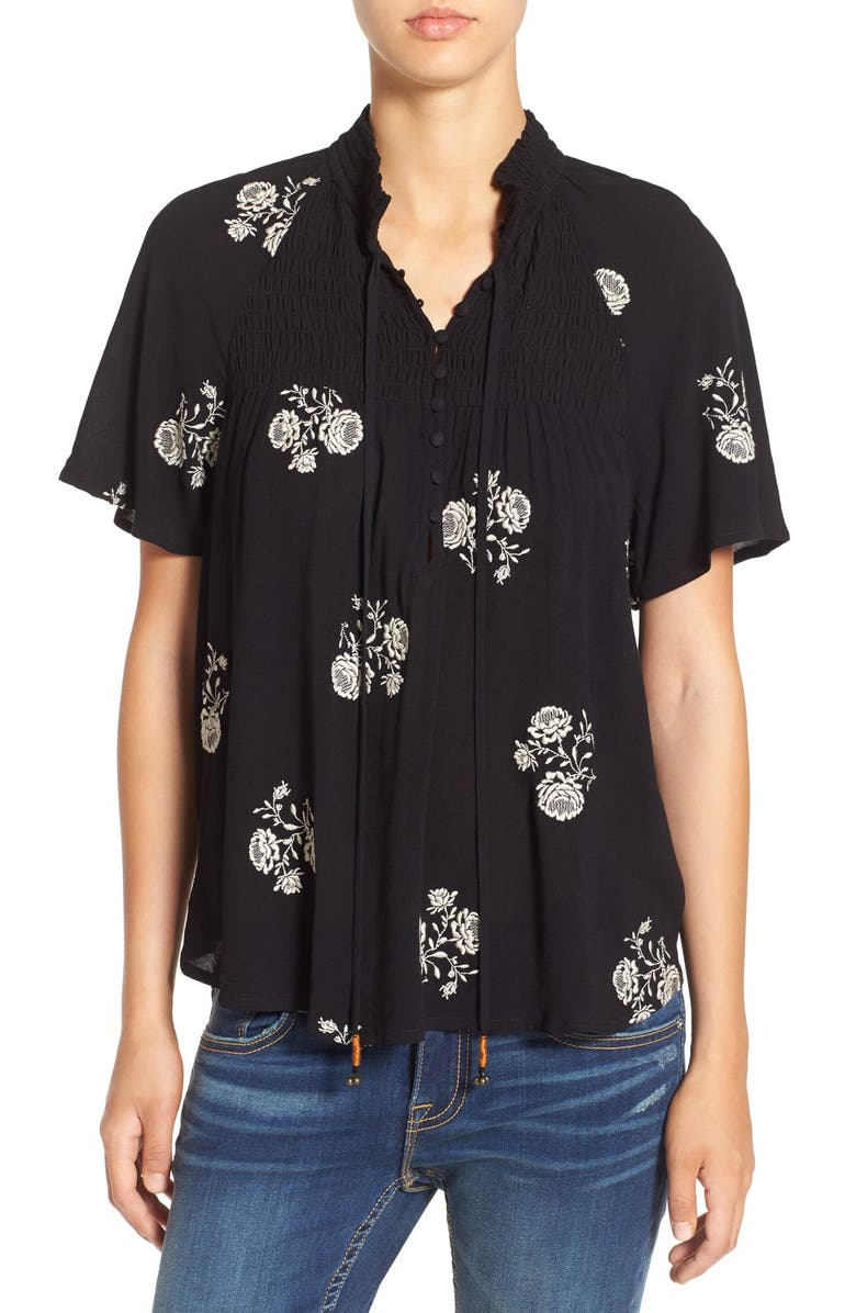 CHLOE & KATIE Embroidered Woven Top, Main, color, 001