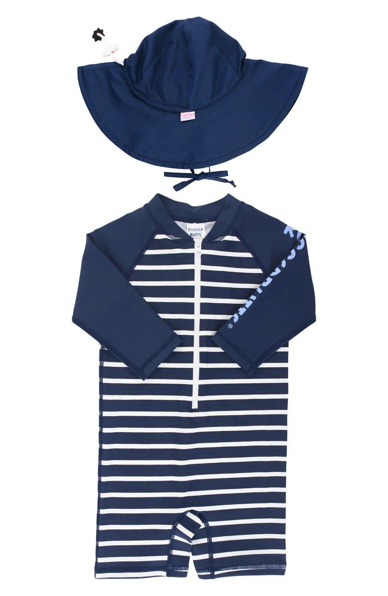 RUGGEDBUTTS Navy Stripe One-Piece Rashguard Swimsuit & Floppy Hat Set, Main, color, 400